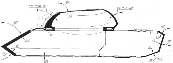 Схема броневой защиты танка